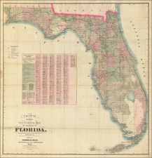 Florida Map By George F. Cram