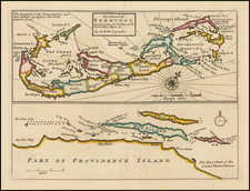 Bahamas and Bermuda Map By Herman Moll
