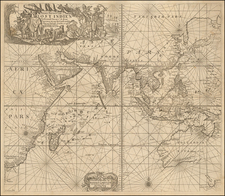 Indian Ocean, India, Southeast Asia, Philippines, Middle East and Australia Map By Johannes Van Keulen