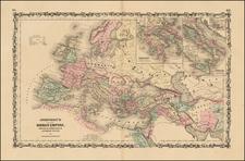Europe, Balkans and Mediterranean Map By Alvin Jewett Johnson  &  Browning