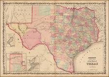 Texas Map By Alvin Jewett Johnson  &  Browning