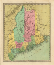 Maine Map By David Hugh Burr
