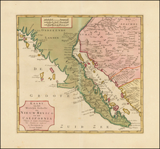 Mexico and Baja California Map By Isaak Tirion