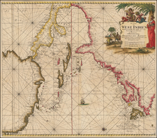 United States, Florida, Canada, Caribbean and Central America Map By Johannes Van Keulen