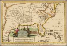 South, Southeast, Texas and Midwest Map By Pieter van der Aa