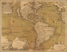 South America and America Map By Nicolas de Fer / J.F. Bernard