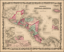 Central America Map By Alvin Jewett Johnson  &  Browning