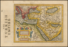 Turkey, Mediterranean, Middle East and Turkey & Asia Minor Map By Jodocus Hondius / Samuel Purchas