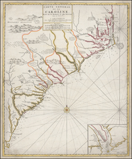 Southeast and South Carolina Map By Johannes Covens  &  Pierre Mortier
