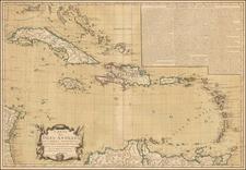 Carte des Isles Antilles dans L'Amerique Septentrionale avec la majeure partie des Isles Lucayes . . . Theatre de la Guerre entre les Anglais et les Americains . . . 1782 By Jacques Esnauts  &  Michel Rapilly