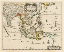 China, Japan, India, Southeast Asia, Philippines, Other Islands and Australia Map By Pierre Mariette