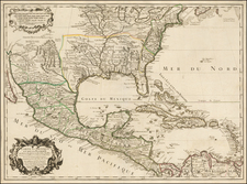 South, Southeast, Texas, Midwest, Plains, Southwest, Rocky Mountains and Mexico Map By Guillaume De L'Isle