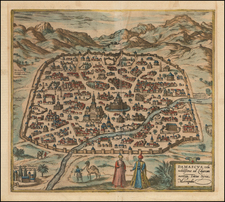 Middle East and Holy Land Map By Georg Braun  &  Frans Hogenberg