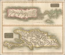 Caribbean, Hispaniola, Puerto Rico and Virgin Islands Map By John Thomson