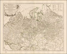 Russia and Central Asia & Caucasus Map By Gilles Robert de Vaugondy
