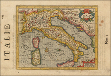 Italy and Mediterranean Map By Henricus Hondius -  Gerard Mercator