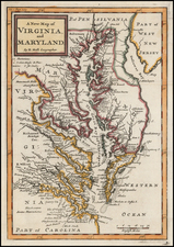Maryland, Delaware, Southeast and Virginia Map By Herman Moll