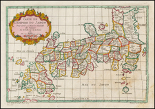 Japan Map By Jacques Nicolas Bellin