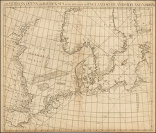British Isles, Germany, Baltic Countries, Scandinavia and Denmark Map By John Senex / Edmund Halley / Nathaniel Cutler