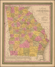 Southeast and Georgia Map By Samuel Augustus Mitchell