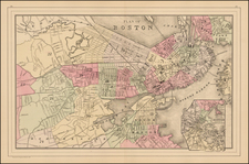 New England and Massachusetts Map By Samuel Augustus Mitchell Jr.
