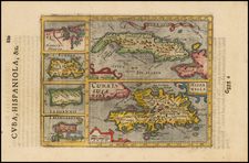 Caribbean, Cuba and Hispaniola Map By Jodocus Hondius - Gerhard Mercator