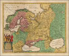 Russia, Baltic Countries and Scandinavia Map By Carel Allard