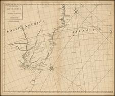 South America and Brazil Map By John Senex / Edmund Halley / Nathaniel Cutler