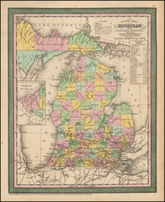 Michigan Map By Thomas Cowperthwait & Co.