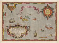 Atlantic Ocean, Portugal and Balearic Islands Map By Abraham Ortelius