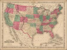 United States Map By Alvin Jewett Johnson
