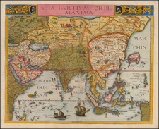 Asia and Southeast Asia Map By Gerard de Jode