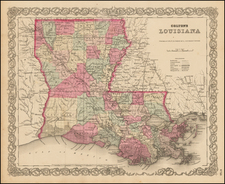 South and Louisiana Map By Joseph Hutchins Colton