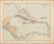 Caribbean Map By Edward Stanford