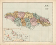Caribbean and Jamaica Map By Edward Stanford