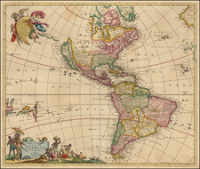 Western Hemisphere, South America and America Map By Frederick De Wit