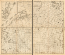 Atlantic Ocean, Mid-Atlantic, Southeast, South America and America Map By John Senex / Edmund Halley / Nathaniel Cutler