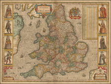 British Isles and England Map By John Speed