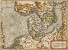 Netherlands, Germany, Baltic Countries and Scandinavia Map By Giovanni Francesco Camocio