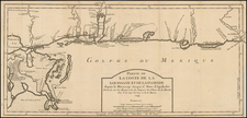 South and Louisiana Map By Jacques Nicolas Bellin