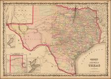 Texas Map By Alvin Jewett Johnson  &  Ross C. Browning