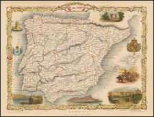 Spain and Portugal Map By John Tallis