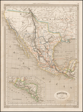 Texas, Southwest, Mexico and California Map By Adolphe Hippolyte Dufour