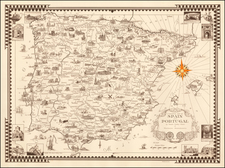 Spain and Portugal Map By Ernest Dudley Chase