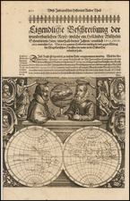[Untitled Map -- Double Hemisphere Map with Portraits of Magellan, Schoten, Drake, Von Noort, Cavendish, and Speilbergen By Willem Janszoon Blaeu / Willem Schouten