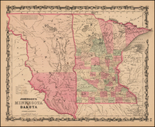 Midwest, Minnesota, Plains, North Dakota and South Dakota Map By Benjamin P Ward  &  Alvin Jewett Johnson