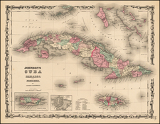Caribbean and Cuba Map By Alvin Jewett Johnson  &  Browning