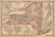 New York State Map By Alvin Jewett Johnson  &  Browning