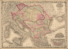 Hungary, Balkans, Greece and Turkey Map By Alvin Jewett Johnson  &  Browning