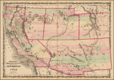 Southwest, Nevada, Rocky Mountains and California Map By Alvin Jewett Johnson  &  Browning
